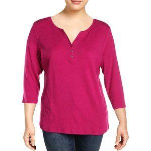 Women's Split Neck 3/4 Sleeves Henley Top Shirt